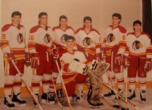 Left to Right: Todd Warriner, Perry Pappas, Eddie Novacco, Ryan Kelly, Aaron Dark Dan Gardiner. kneeling: Dan Tanevski